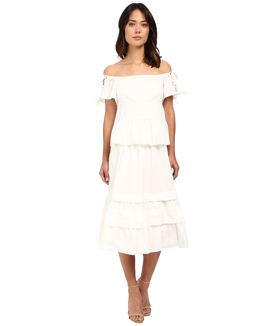 Rebecca Taylor Off Shoulder Cotton Poplin Dress Snow Womens Dress
