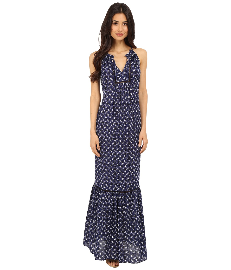 Rebecca Taylor Sleeveless Crisscross Maxi Dress Indigo Combo Womens Dress