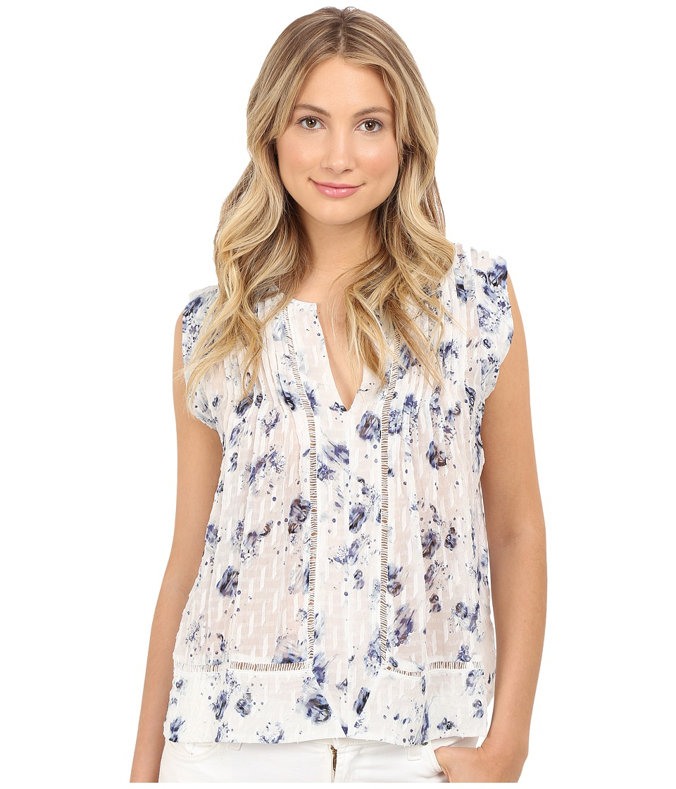 Rebecca Taylor Sleeveless Meteor Flower Top Indigo/Sea Salt Womens Blouse
