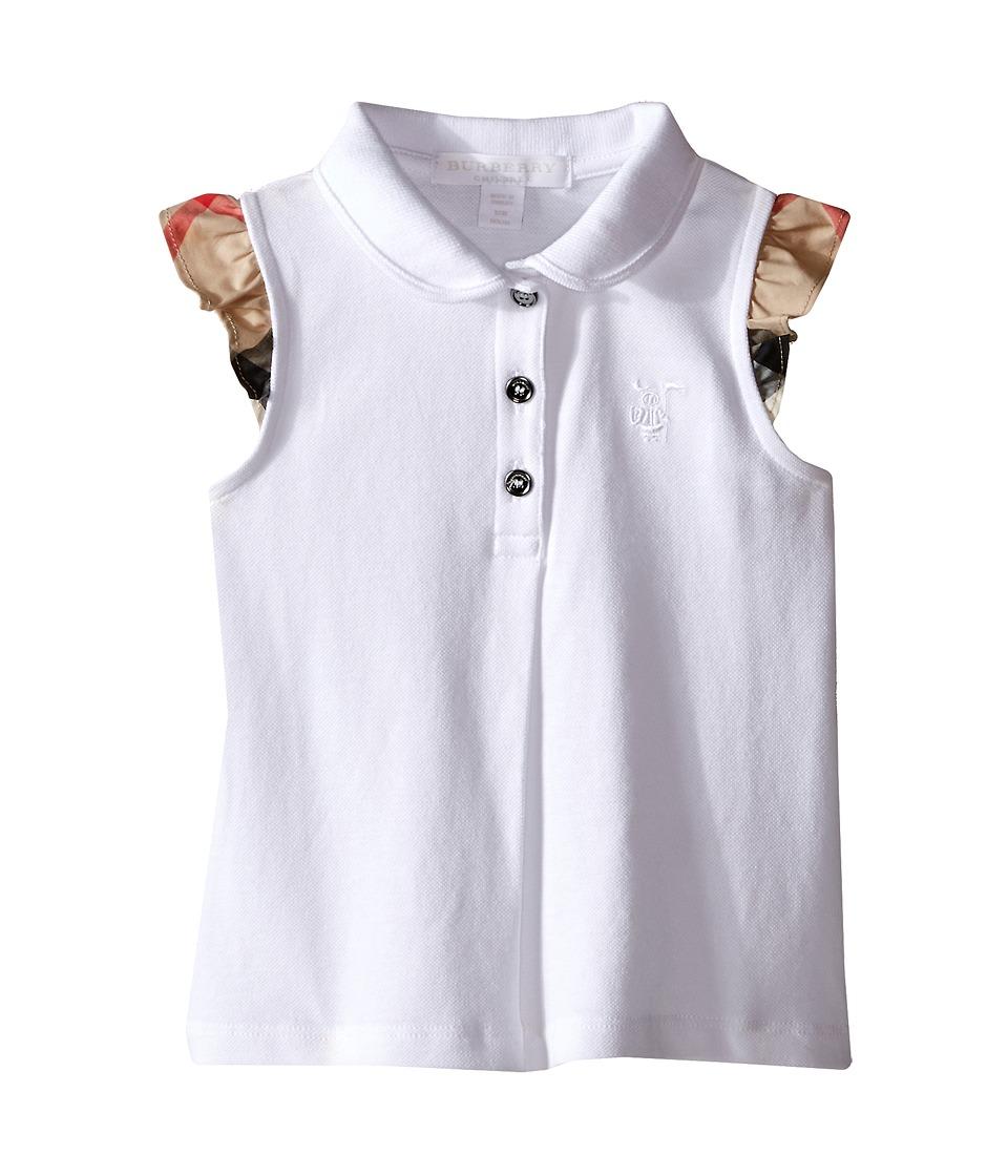 Burberry Kids Polo with Short Flutter Sleeves Infant/Toddler White Girls Short Sleeve Knit