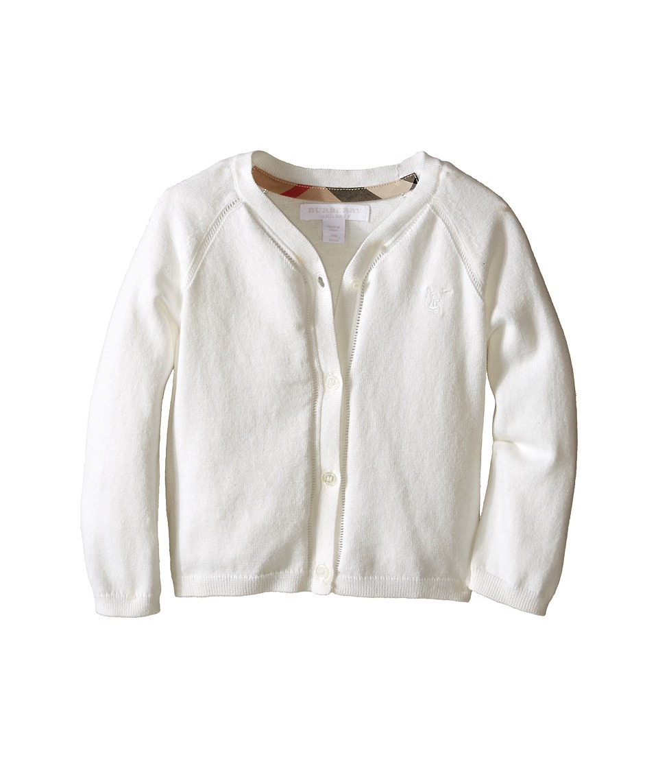 Burberry Kids Cotton Cardi with Lacehole Detail Infant/Toddler White Girls Sweater