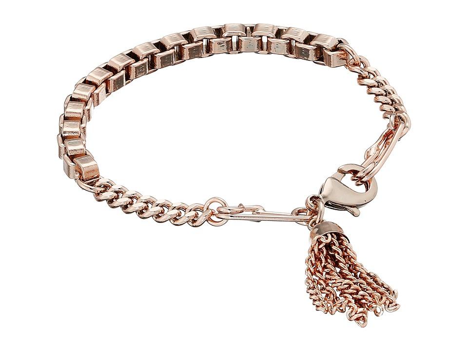 French Connection Safety Pin Tassel Bracelet Rose Gold Bracelet