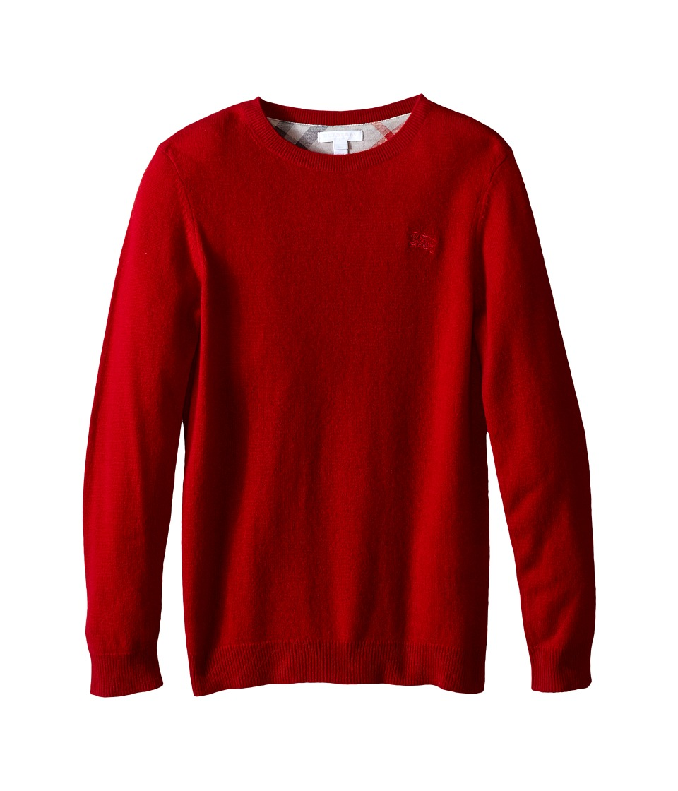 Burberry Kids - Long Sleeve Crew Neck with Check Elbow Pa...