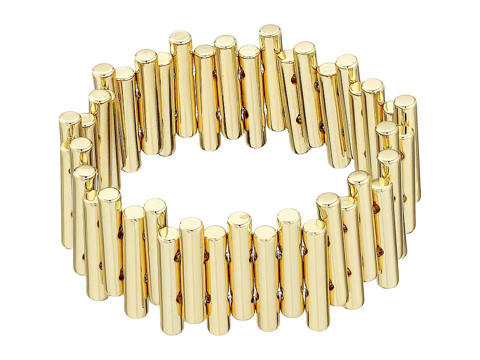 French Connection - Staggered Tube Stretch Bracelet (Gold) Bracelet