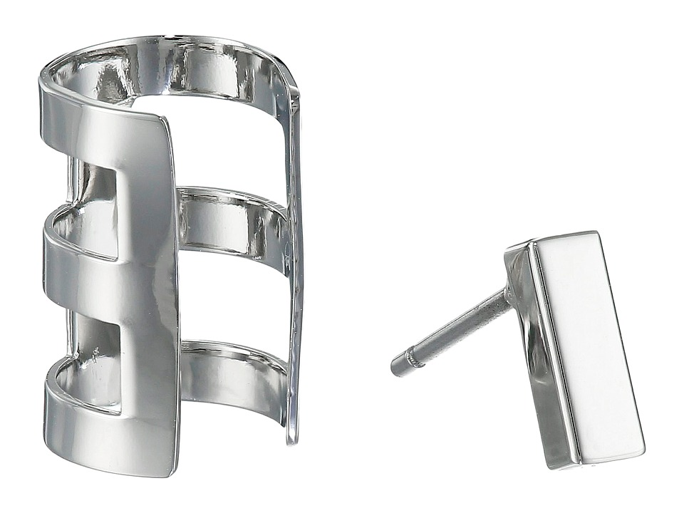 French Connection - Rectangle Bar Single Earrings Cuff Set
