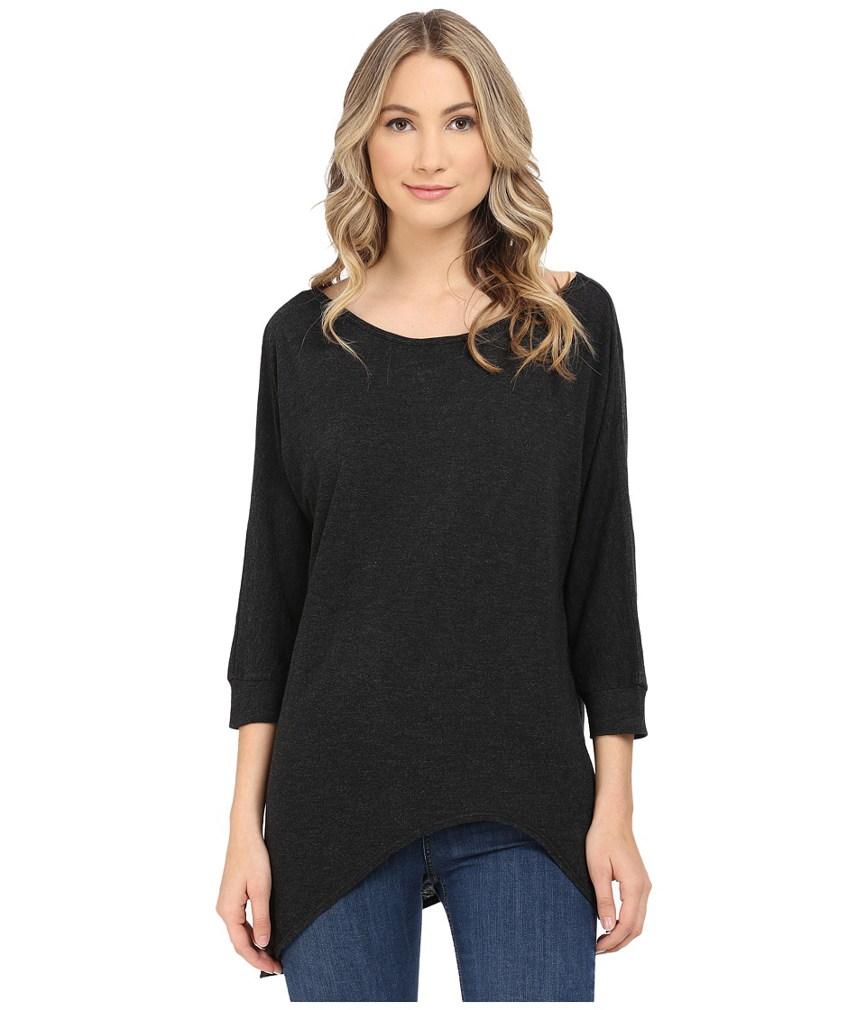 Lanston 3/4 Sleeve Asymmetrical Tunic Black Womens Blouse