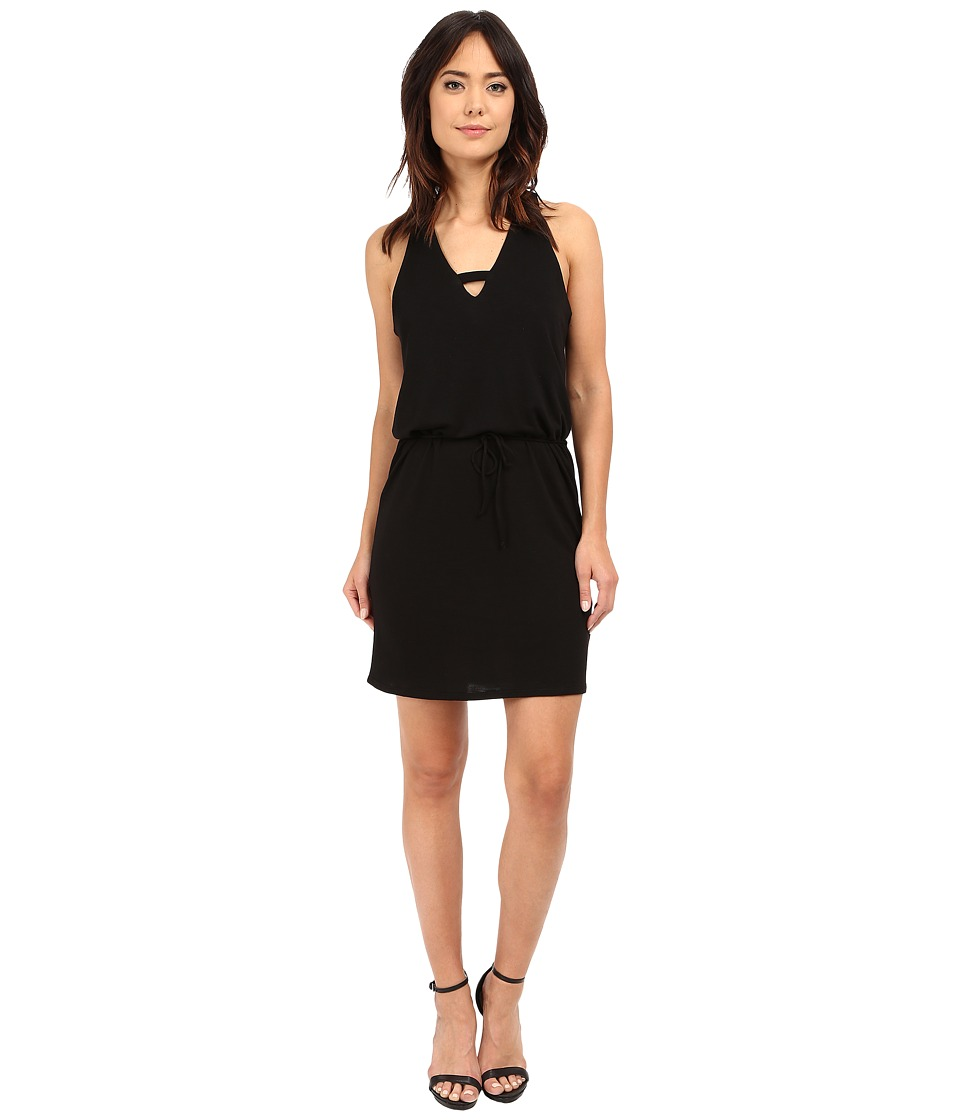 Lanston Cross V Mini Dress Black Womens Dress