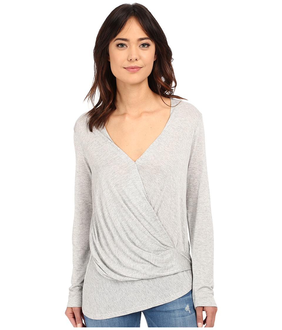 Lanston Long Sleeve Asymmetrical Surplice Heather Womens Long Sleeve Pullover
