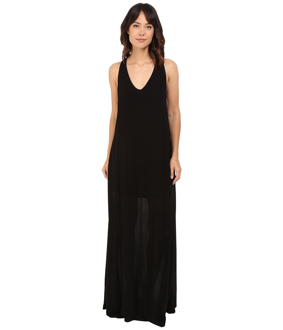 Lanston Deep V Open Maxi Dress Black Womens Dress
