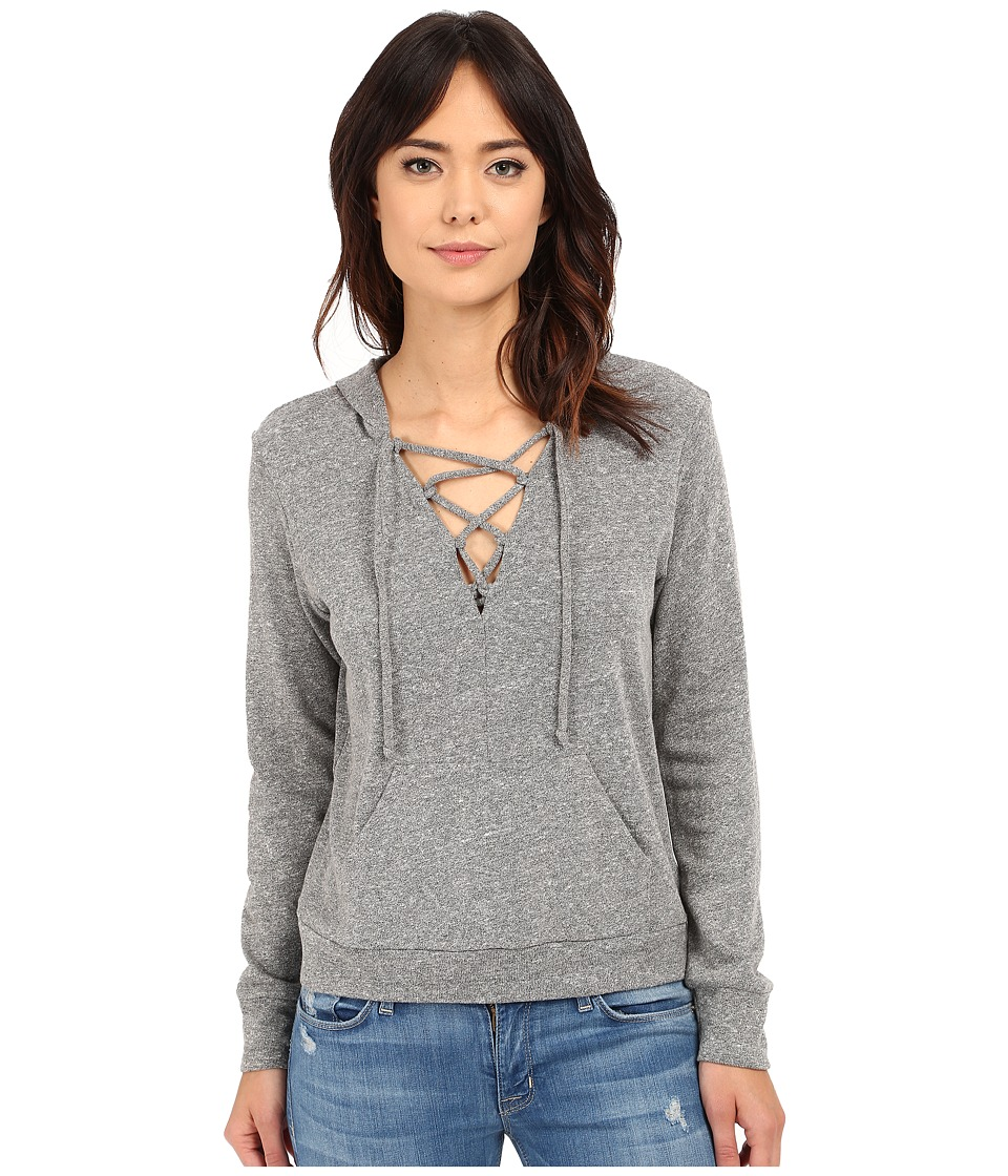Lanston Lace Up Hoodie Heather Womens Sweatshirt
