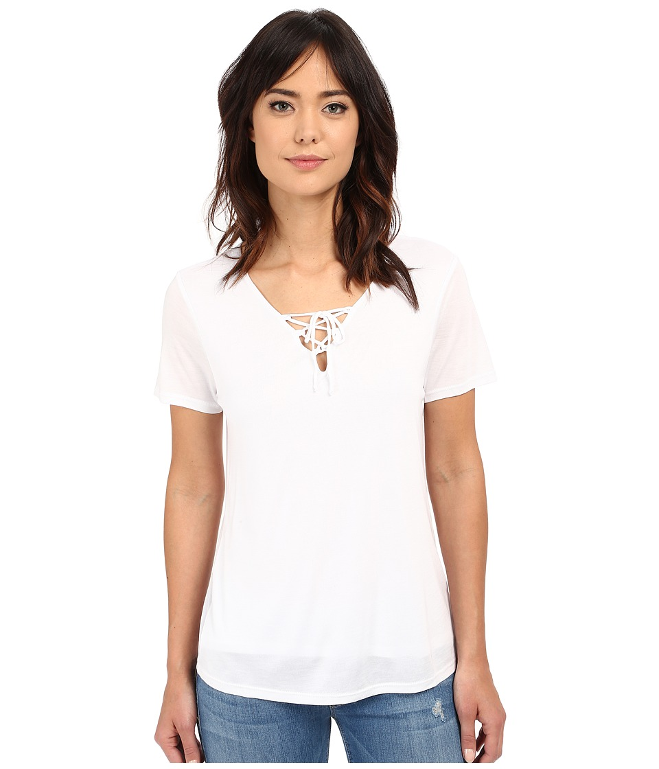 Lanston Lace Up Tee White Womens T Shirt