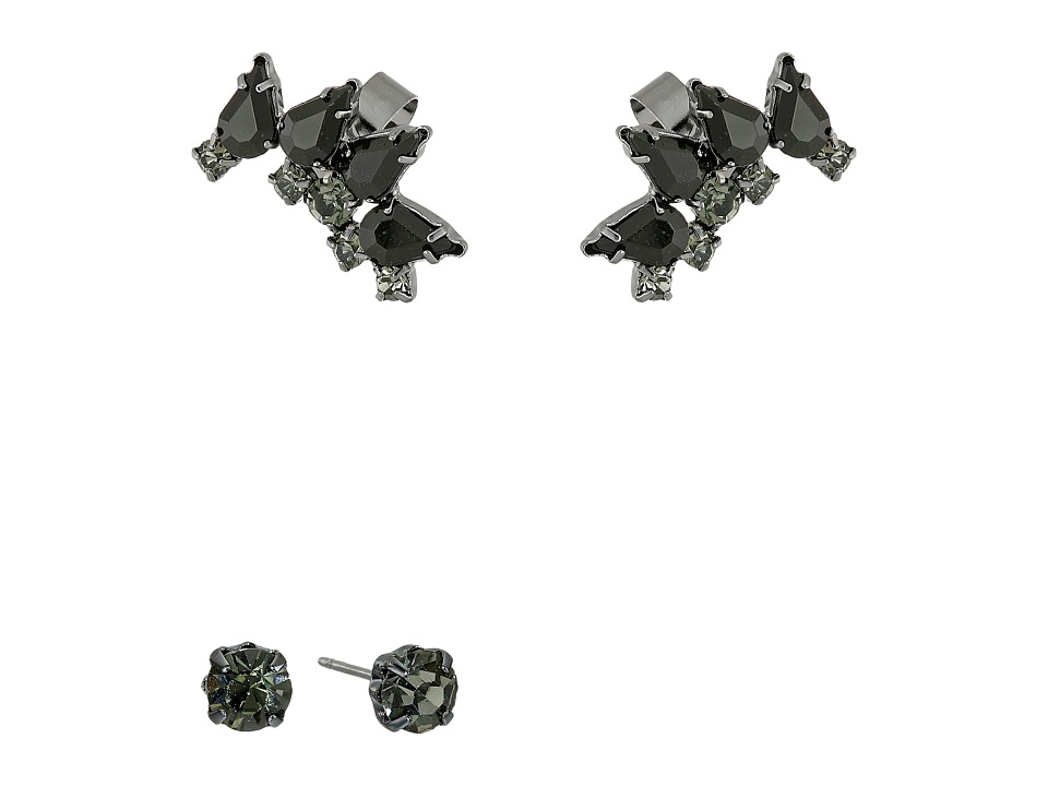 French Connection Jeweled Ear Cuff Earrings Set Hematite/Black Earring