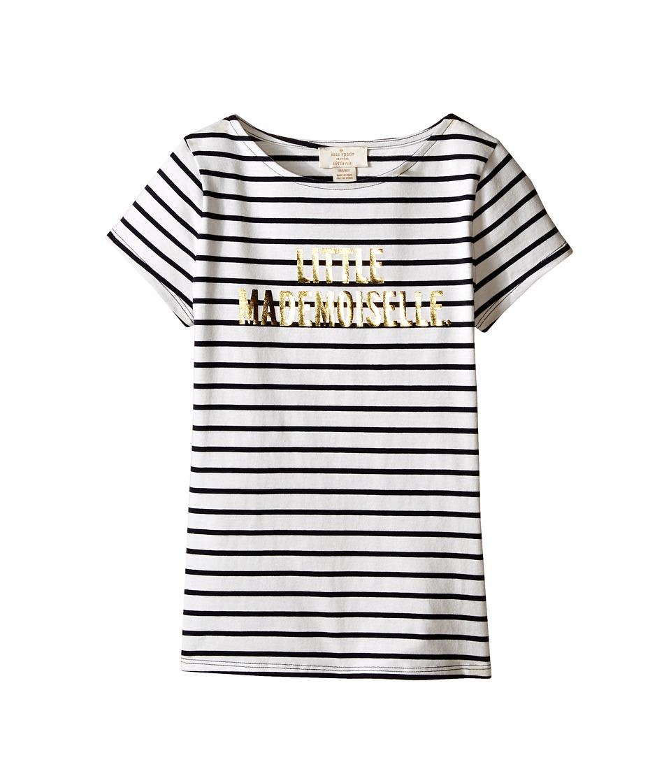 Kate Spade New York Kids Little Mademoiselle Tee Big Kids Rich Navy/Cream Girls T Shirt