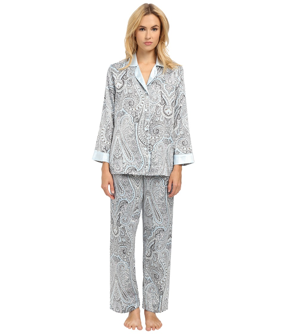 Oscar de la Renta Brush Back Satin Paisley Pajama Blue Paisley Womens Pajama Sets