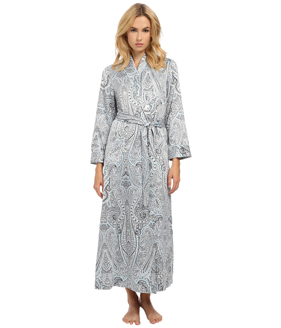 Oscar de la Renta Brush Back Satin Paisley Long Robe Blue Paisley Womens Robe