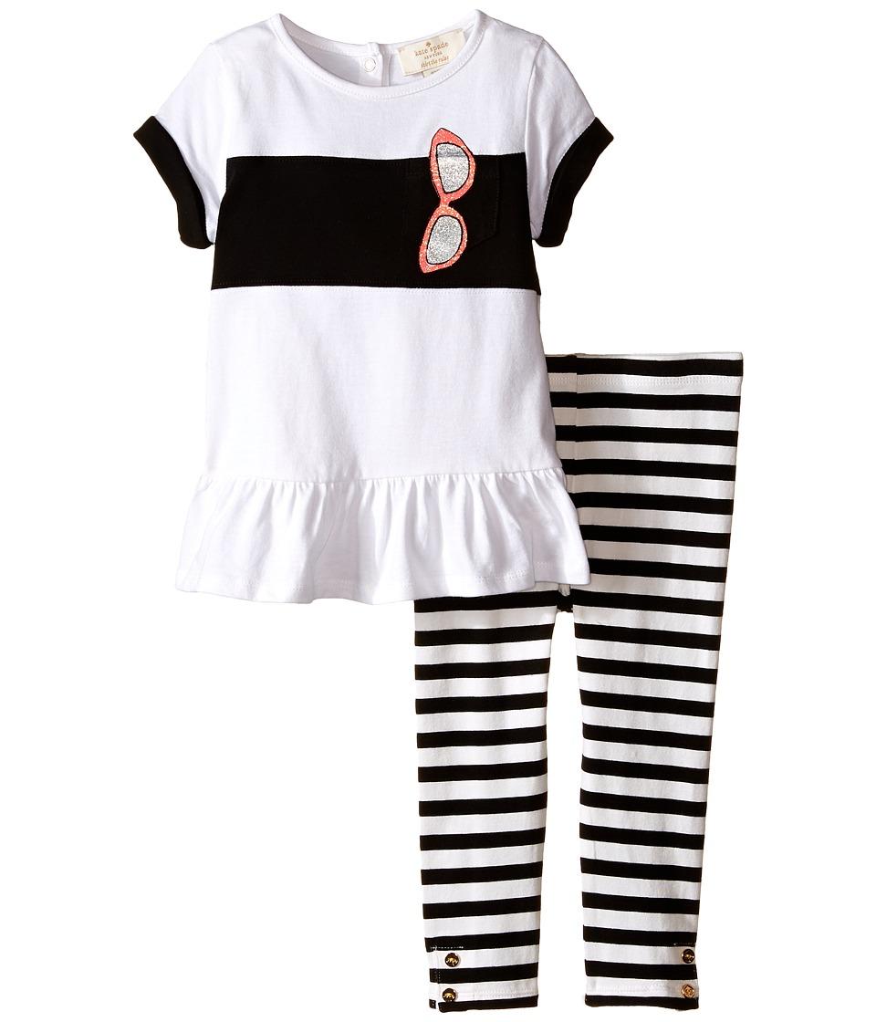 Kate Spade New York Kids Trompe LOeil Sunglass Tunic and Leggings Set Infant Black/Fresh White Girls Active Sets