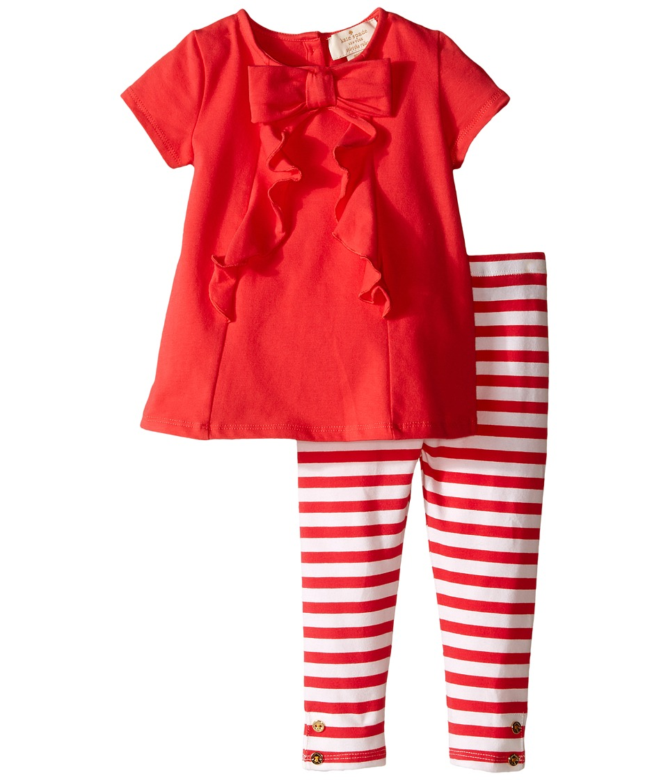 Kate Spade New York Kids Short Sleeve Bow Tee and Leggings Set Infant Geranium/Cream Stripe Girls Active Sets