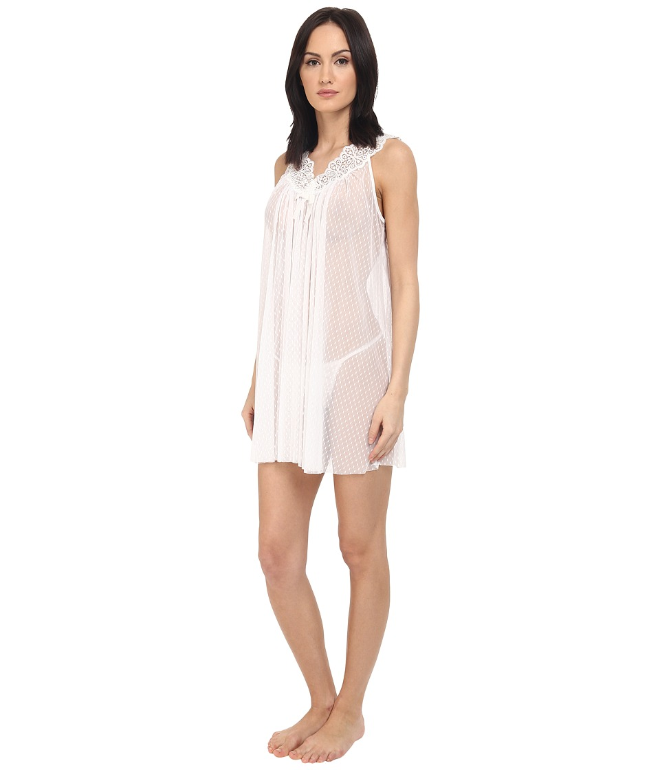 Oscar de la Renta Pink Label Mesh Chemise Pearl Womens Pajama