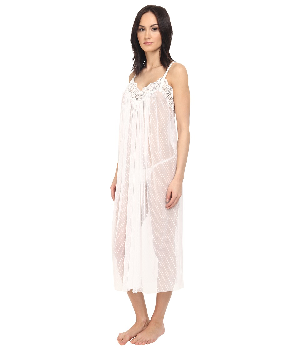 Oscar de la Renta Pink Label Mesh Long Gown Pearl Womens Pajama