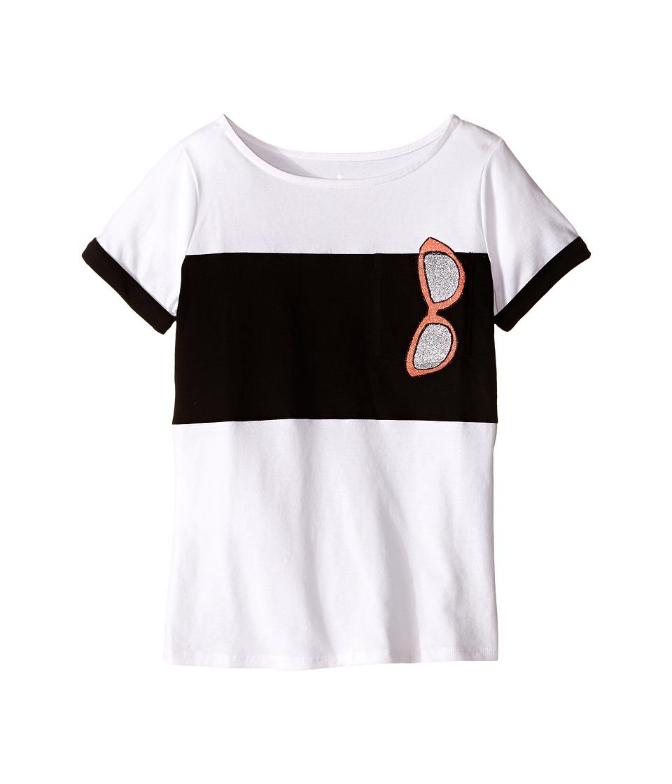 Kate Spade New York Kids Trompe LOeil Sunglass Tee Big Kids Fresh White Girls Short Sleeve Pullover