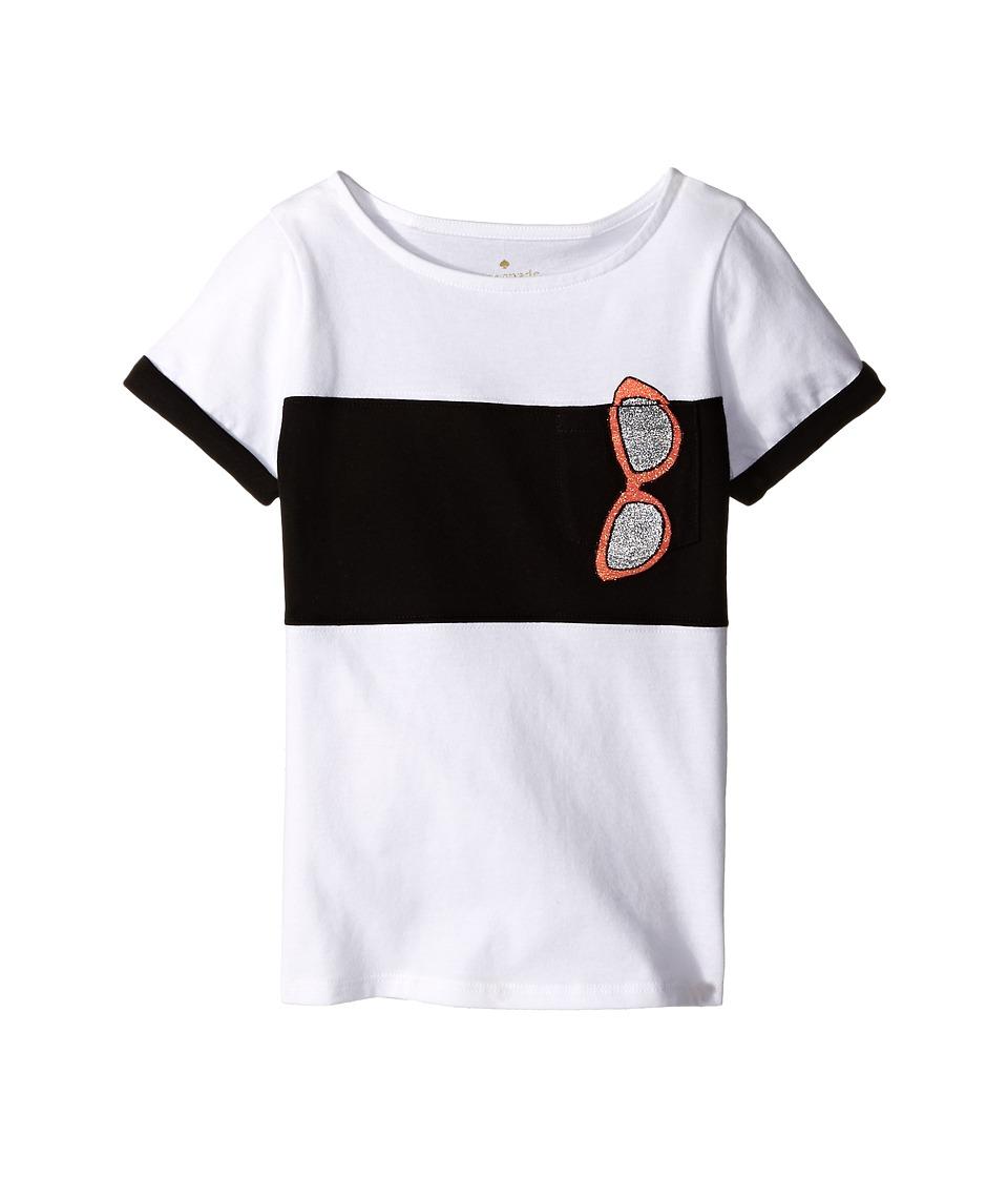 Kate Spade New York Kids Trompe LOeil Sunglass Tee Toddler/Little Kids Fresh White Girls Short Sleeve Pullover