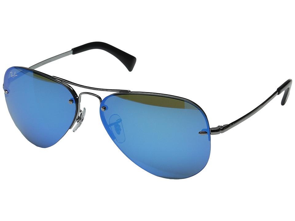 Ray-Ban RB3449 (Gunmetal/Light Green Mirror Blue) Metal Frame Fashion Sunglasses
