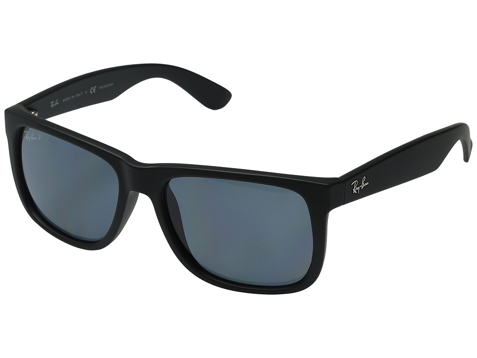 Ray-Ban RB4165 Square Boyfriend 55mm (Black Rubber/Dark Blue) Plastic Frame Fashion Sunglasses