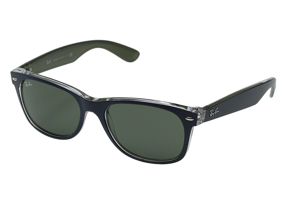 Ray-Ban RB2132 New Wayfarer 55mm (Matte Blue/Military Green/Green) Fashion Sunglasses
