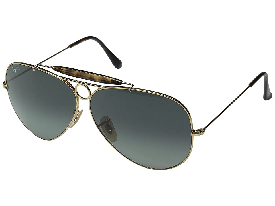 Ray Ban 3138 Shooter 62 Large Gold/Light Gray Gradient Dark Gray Sport Sunglasses