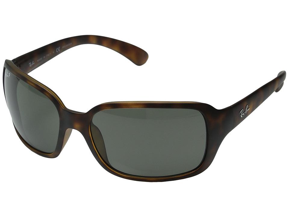 Ray-Ban RB4068 Polarized (Matte Havana/Green) Sport Sunglasses