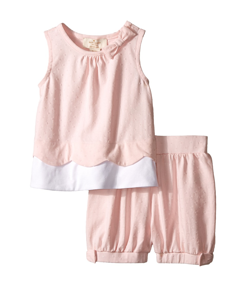 Kate Spade New York Kids Scallop Tank Top and Shorts Set Infant Valentine Pink/Fresh White Girls Active Sets