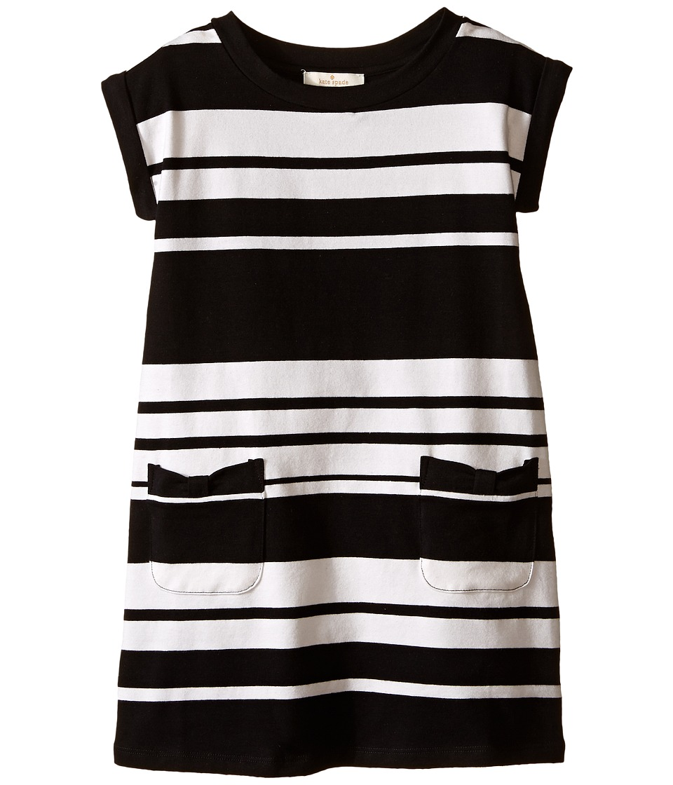Kate Spade New York Kids Cape Stripe Dress Toddler/Little Kids Black/Cream Girls Dress