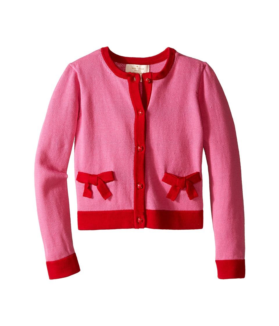 Kate Spade New York Kids Pocket Cardigan Toddler/Little Kids Carousel Pink/Posey Red Girls Sweater