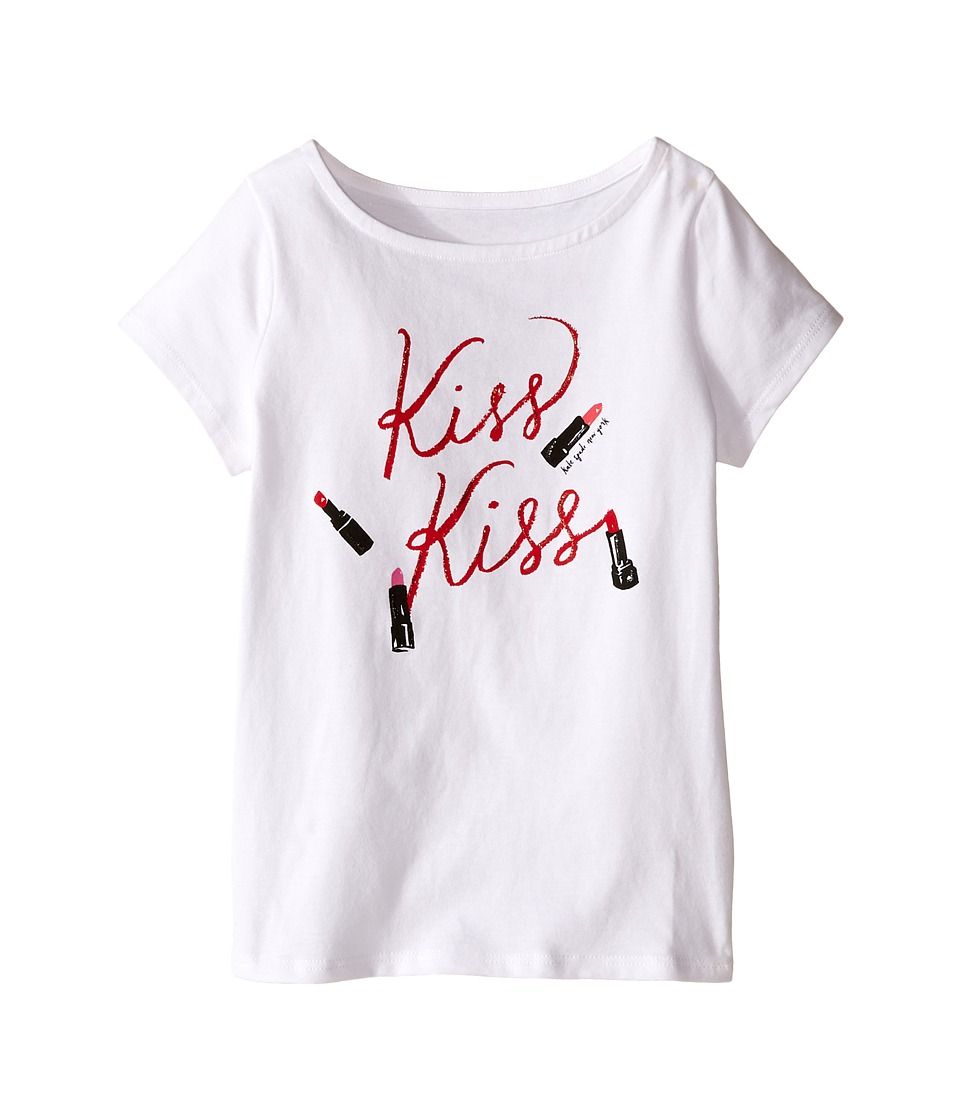 Kate Spade New York Kids Kiss Kiss Tee Toddler/Little Kids Fresh White Girls T Shirt