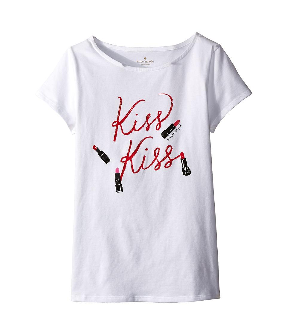 Kate Spade New York Kids Kiss Kiss Tee Big Kids Fresh White Girls T Shirt
