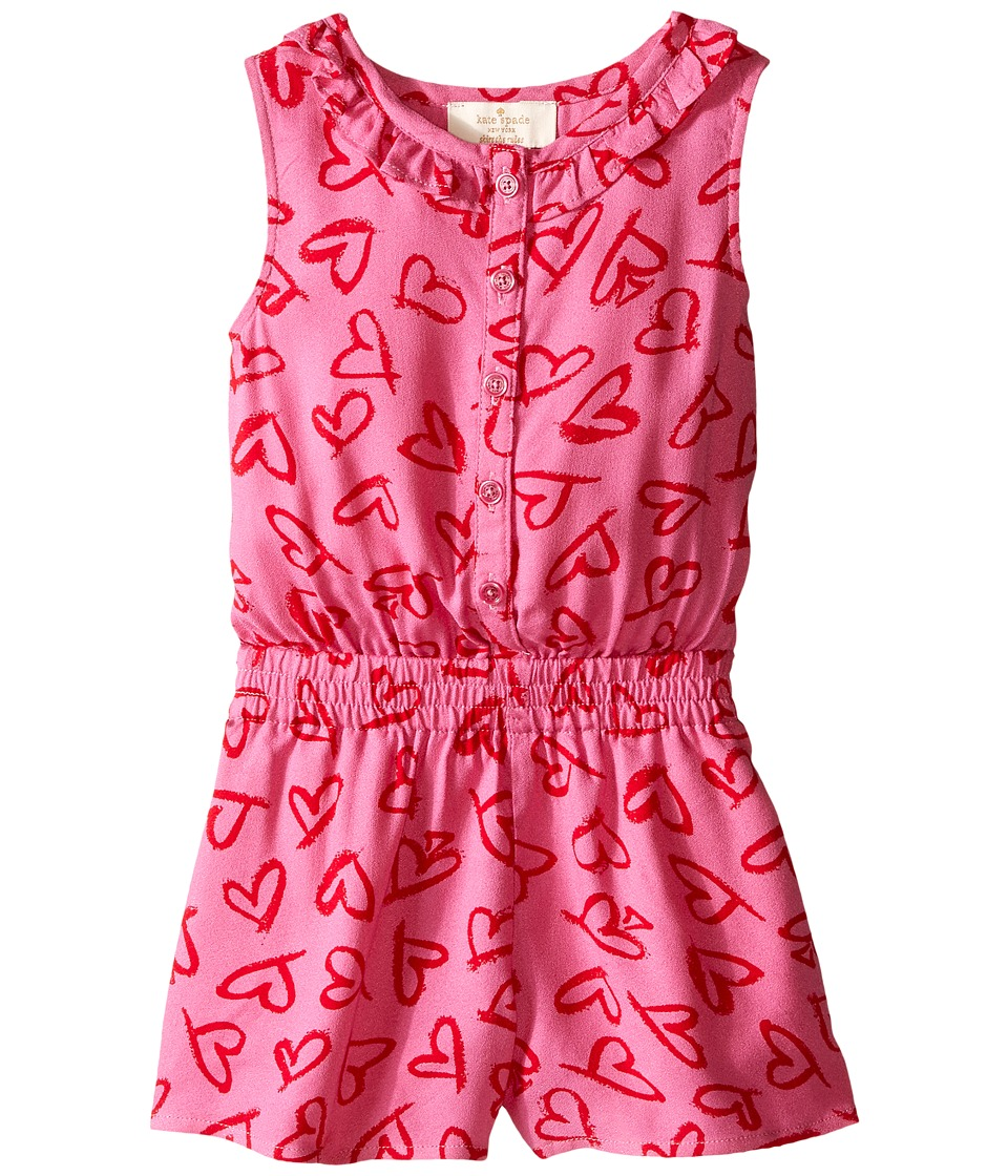 Kate Spade New York Kids Heart Romper Toddler/Little Kids Lipstick Hearts Print Girls Jumpsuit Rompers One Piece