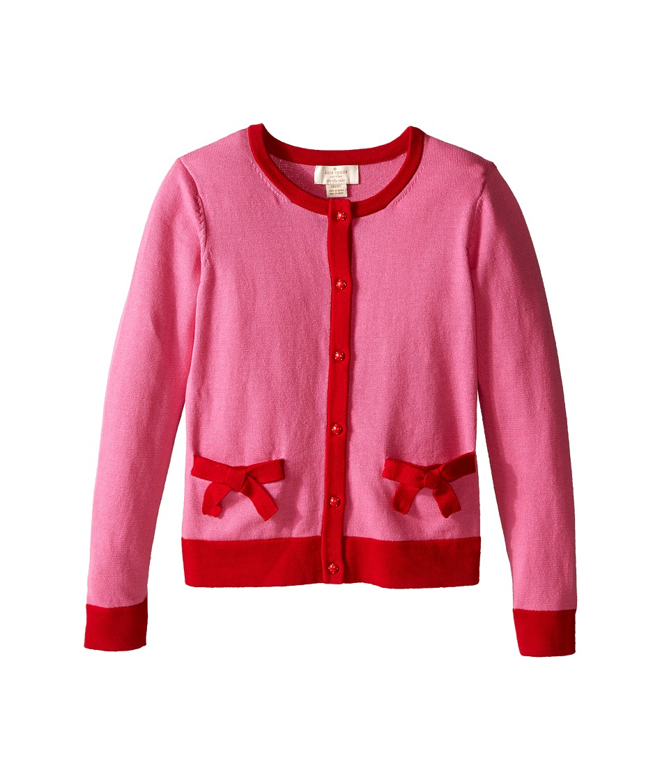 Kate Spade New York Kids Pocket Cardigan Big Kids Carousel Pink/Posey Red Girls Sweater