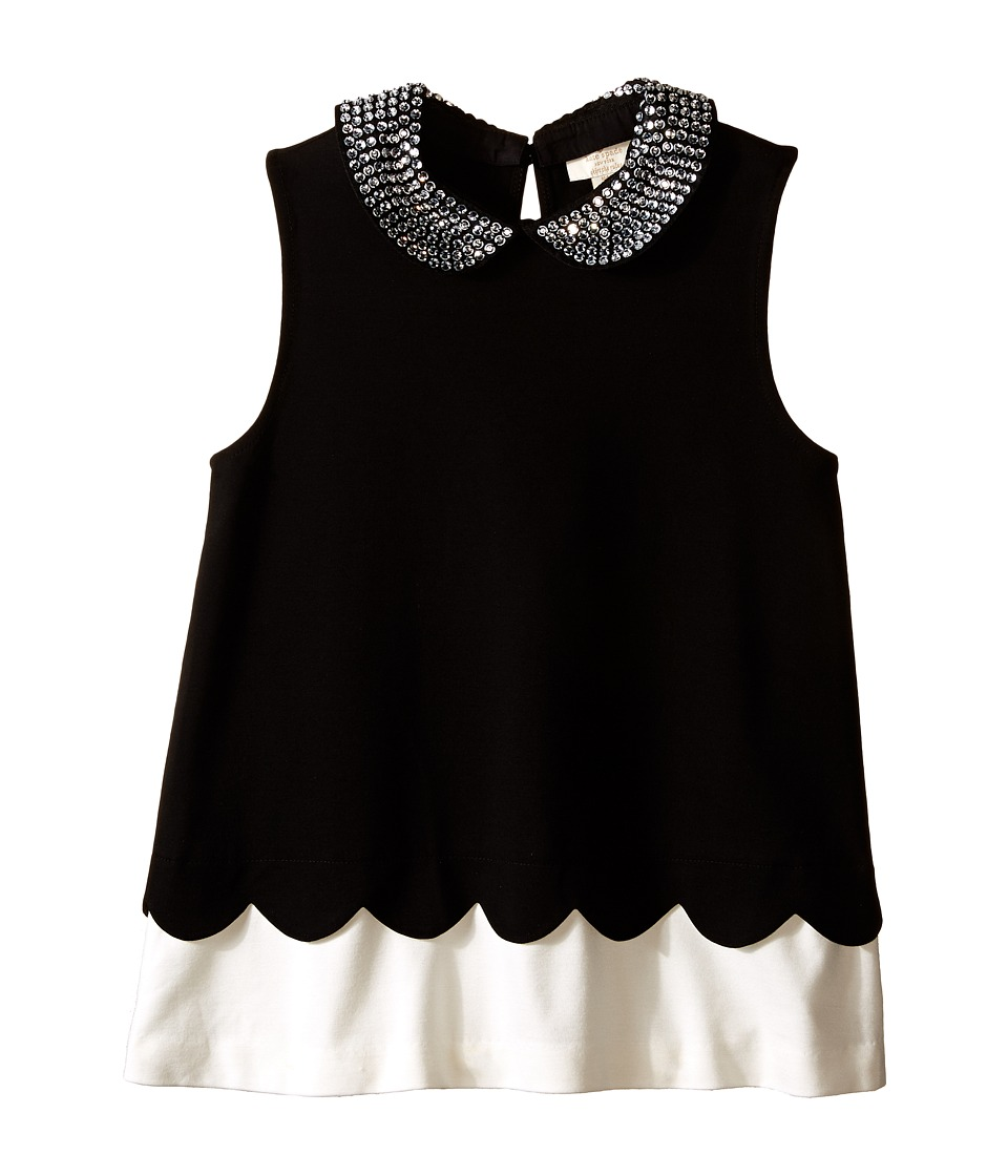 Kate Spade New York Kids Embellished Peter Pan Collar Top Big Kids Black/Fresh White Girls Clothing