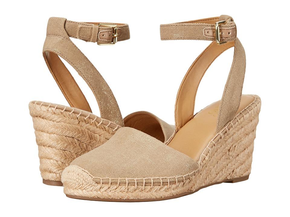 Vintage Style Sandals – 1930s, 1940s, 1950s, 1960s Franco Sarto - Mirana Soft Tan Womens Wedge Shoes $89.00 AT vintagedancer.com