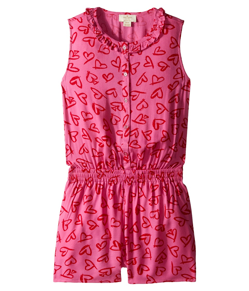 Kate Spade New York Kids Heart Romper Big Kids Lipstick Hearts Print Girls Jumpsuit Rompers One Piece