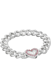 GUESS - Stone Framed Heart on Chunky Chain Bracelet