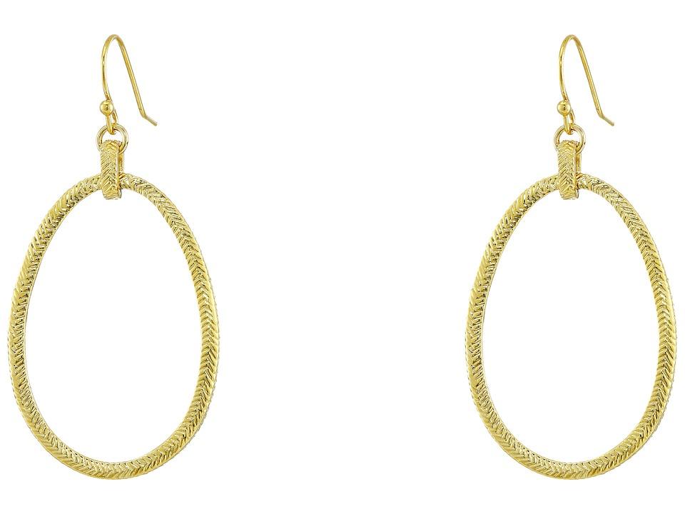 Cole Haan Basket Weave Oval Hoop Earrings Gold Earring