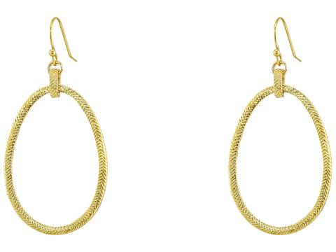Cole Haan Basket Weave Oval Hoop Earrings - Gold