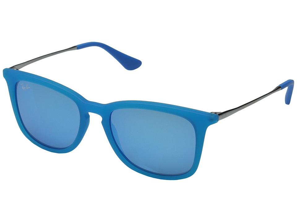 Ray-Ban Junior - RJ9063S 48mm (Youth) (Blue Transparent Rubber/Gunmetal/Light Green Mirror Blue) Fashion Sunglasses