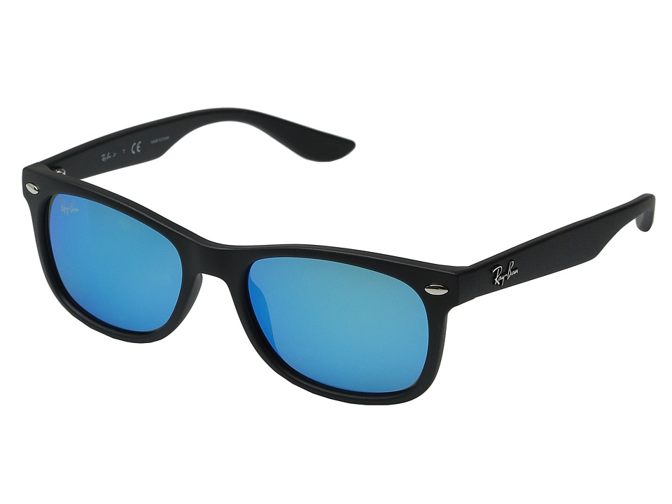 Ray Ban Junior RJ9052S New Wayfarer 48mm Youth Matte Black/Blue Mirror Fashion Sunglasses