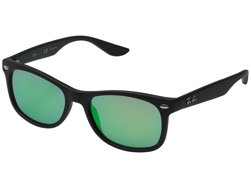Ray Ban Junior RJ9052S New Wayfarer 48mm Youth Matte Black/Light Green Mirror Green Fashion Sunglasses