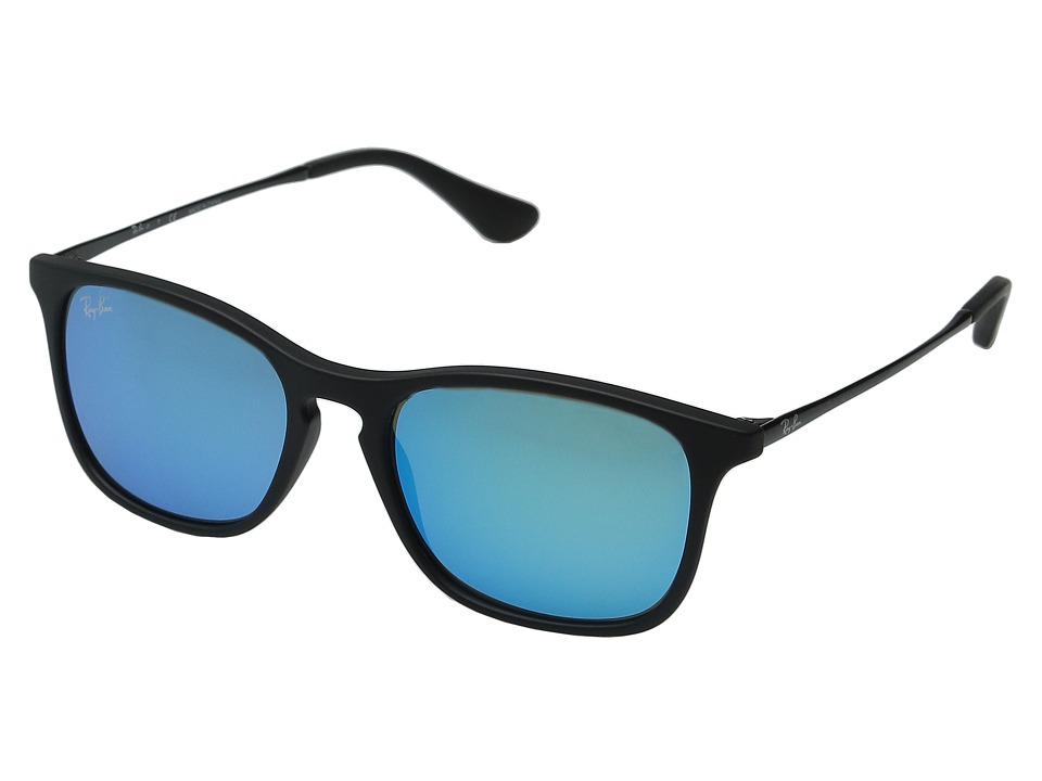 Ray-Ban Junior - ORJ9061S Chris 49mm (Youth) (Rubber Black/Shiny Black/Light Green Mirror Blue) Fashion Sunglasses