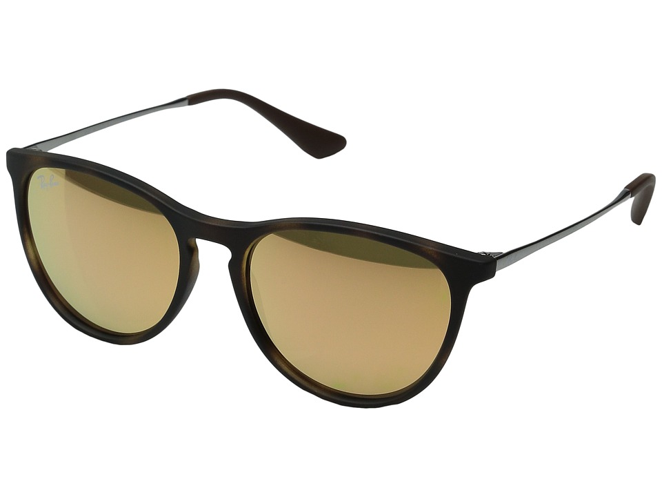 Ray-Ban Junior - RJ9060S Izzy 50mm (Youth) (Havana Rubber/Gunmetal/Light Brown Mirror Pink) Fashion Sunglasses