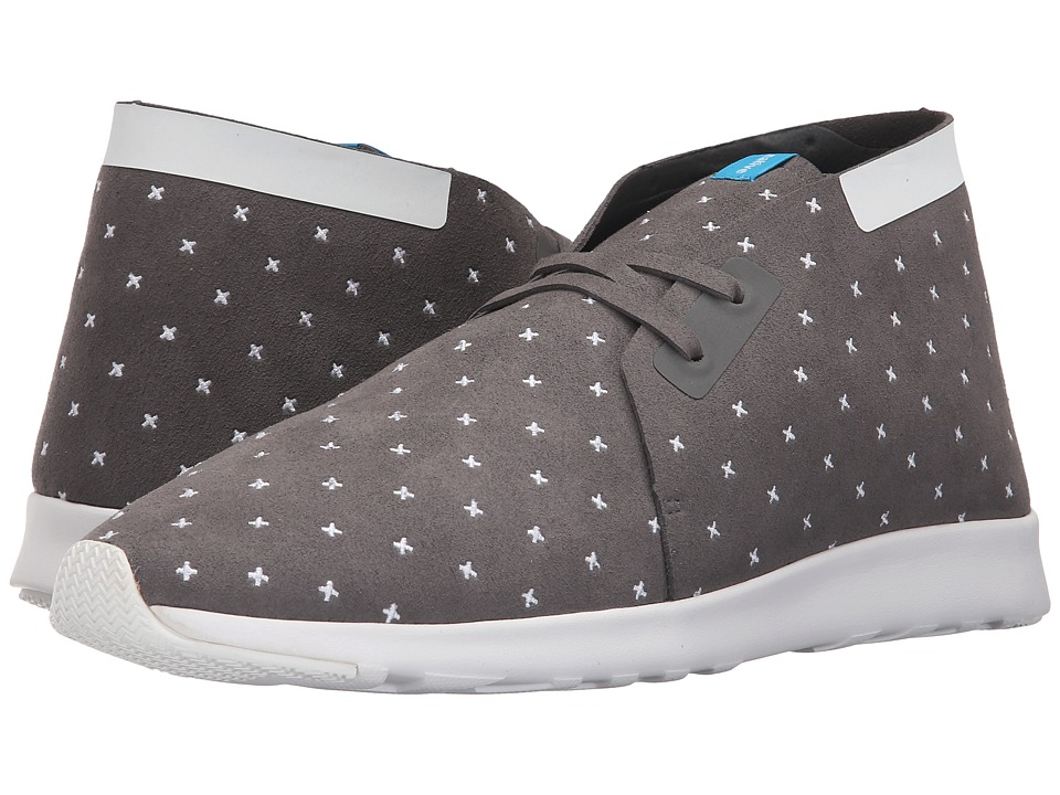 Native Shoes Embroidered Apollo Chukka Dublin Grey/Shell White/Shell Rubber/Embroidered Slip on Shoes