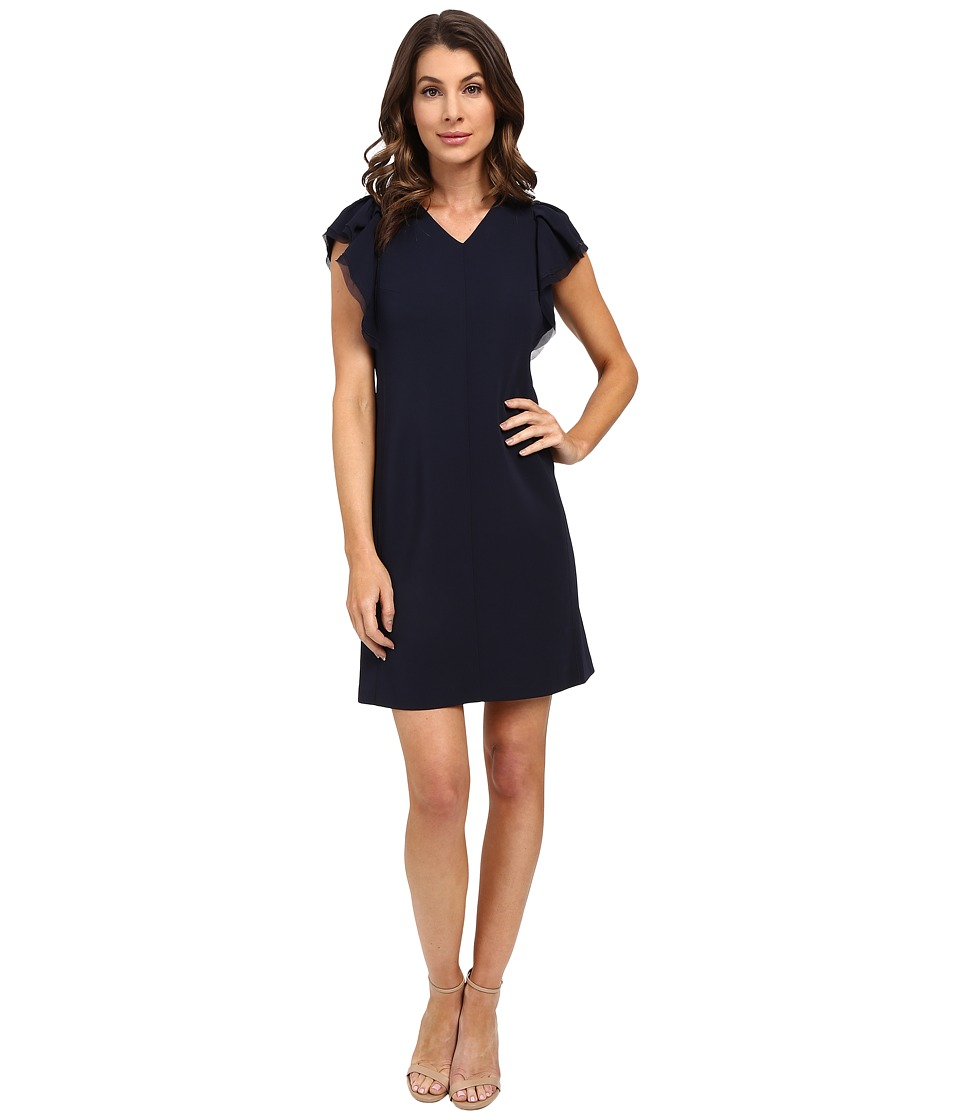 Rebecca Taylor Sleeveless Ruffle Dress Navy Womens Dress